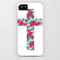 Floral cross iPhone Case by Nestor | Society6
