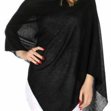 Solid Color Unbalanced Poncho in One Size Fits Most in 7 Colors