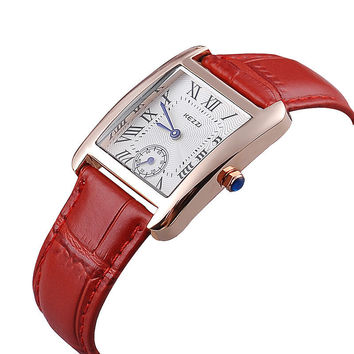 Kezzi Waterproof Leather Strap Dress Watch