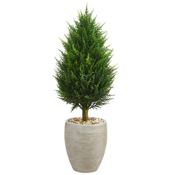 "40"" Cypress Cone Artificial Tree in Sand Colored Oval Planter UV Resistant (Indoor/Outdoor) 
