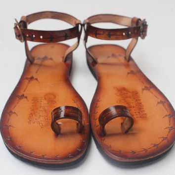 Toe Ring Barefoot Leather Sandals
