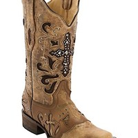 Corral Women's Antique Saddle w/ Stud Cross Square Toe Western Boot