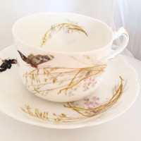 Haviland Limoges H & Co. Fine Bone China Vintage Teacup and Saucer Set - Meadow Visitors - yellow green white blue - butterflies butterfly