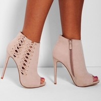 Anushka Nude Suedette Peep Toe Lace Heel Boots | Pink Boutique