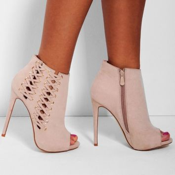 Anushka Nude Suedette Peep Toe Lace Heel from Pink Boutique