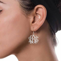 Sterling Silver Monogrammed Earrings. Great gift idea and perfect for bridal party.