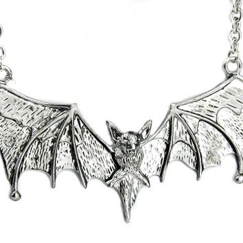 Large Silver Color Vampire Bat Necklace Alternative Gothic Jewelry Dracula Halloween