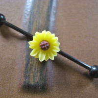 Sunflower Industrial Barbell Piercing Bar Gold Tone Titanium 14g 14 G Gauge Yellow Sun Flower Daisy
