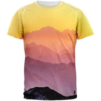 PEAPGQ9 Rainbow Sunset Mountains All Over Mens T Shirt
