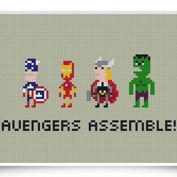 Avengers Assemble Cross Stitch Pattern 8-bit Marvel Comics Superheroes