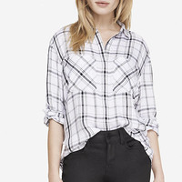 OVERSIZED PLAID SHIRT - BLACK AND WHITE from EXPRESS