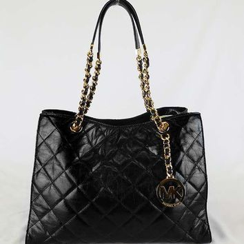 MICHAEL KORS SUSANNAH Black Quilted Leather LG Shoulder Tote Bag Msrp