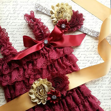 Baby Lace Romper Set, Smash Cake Outfit, Petti Lace Romper Set, Lace Romper Outfit  FSU Seminoles Photo Prop Newborn Outfit Birthday Outfit