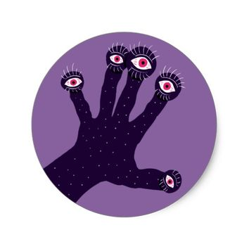 Creepy Hand Has Weird Fingers With Watching Eyes Classic Round Sticker
