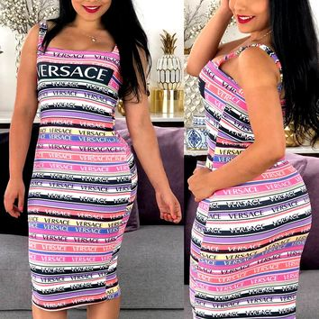 Versace sexy women's letter print tight-fitting hip dress
