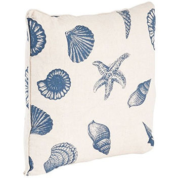 Nautical Beach Print Down Filled Throw Pillow - 18-in (Indigo on Natural)
