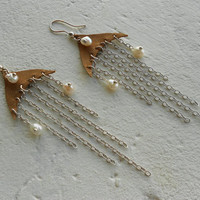 Chandelier Earrings with Pearls+Leather+Silverplate ~Pure Morning~ Pearl Earrings Long Beachy Earrings Dangle Earrings in Silver+White+Tan
