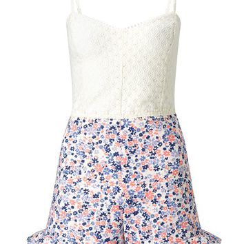 Ariana Grande For Lipsy Floral Frill Playsuit
