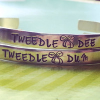 Tweedle dee tweedle dum two bracelets to share with sister, friend, cousin bracelet made from aluminum 1100, hand stamped