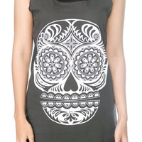 SKULL Shirt Day of the Dead Zombie Sugar Skull Shirt Women Tank Top Black Shirts Tunic Top Vest Singlet Women T-Shirt Size S M