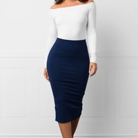 Tabatha Pencil Skirt Navy Blue