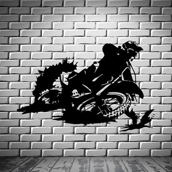 Motorcycle Racer Dirt Bike Motor Sport Decor Wall Mural Vinyl Decal Sticker Unique Gift M416