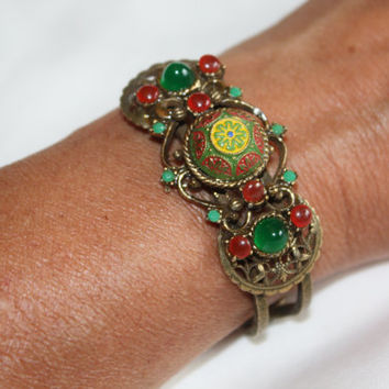 Vintage Bangle Bracelet India Faux Jade,Carnelian 1960s Jewelry Boho