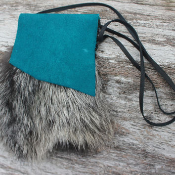 Silver Fox Fur Medicine Bag with Turquoise Buffalo Leather, Shamanic Necklace Pouch