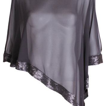 Black Sequinned Sheer Poncho Top