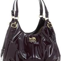 Coach Madison Patent Leather Maggie Shoulder Hobo Bag Purse 18760 Plum