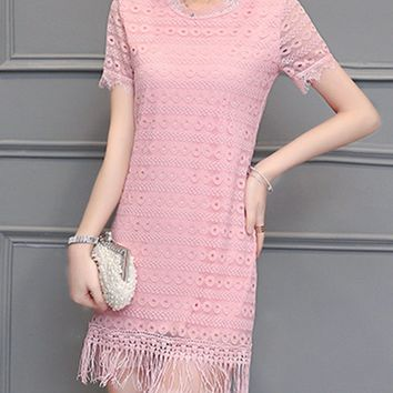 Streetstyle  Casual Chic Fringe Hollow Out Plain Lace Bodycon Dress