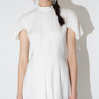 White Shawl Collar Mini Dress with Pleated Skirt