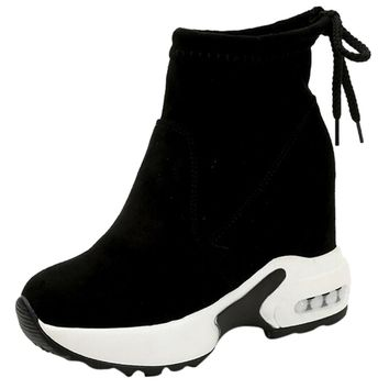 Snow Boots Women Wedges Height Increasing Ankle Boots Pointed Toe Slip-On Ladies Mujer Winter Snow Boots Women