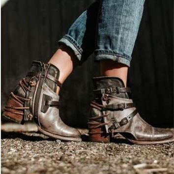 Vintage Zipper Buckled Leather Ankle Boots