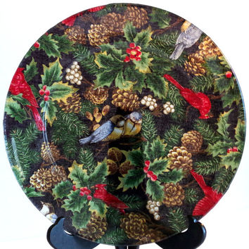 Vintage Christmas Plate Reverse Collage on Glass Handmade Folk Art Style Decoupage Holiday Birds Pine Cones Holly & Berries OOAK Gift