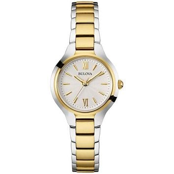 Bulova Ladies Watch - Two-Tone Case and  Bracelet - Silver Sunray Dial