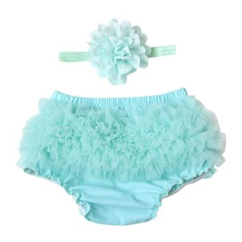 Baby kids Toddler Baby Girl Ruffle Bloomers Diaper Cover Shorts +HeadbandSet 2 pieces set