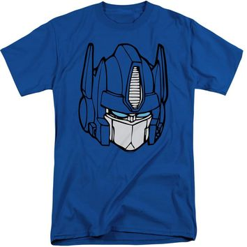 Transformers Tall T-Shirt Optimus Prime Face Royal Tee