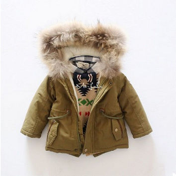 New Fashion in Winter Down Jackets Long Kids` Cotton Coats Solid Unisex For Children Boys and Girls Casual For 2-6 years