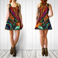 Wearable Art, custom made, exclusive design, stretch Flare dress, flattering playful, abstract paint rainbow colorful summer club tank tunic