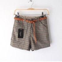 Houndstooth Flanging Woolen Leisure Shorts with Belt,Cheap in Wendybox.com