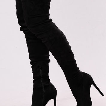 Vicky Over The Knee Boot - Black