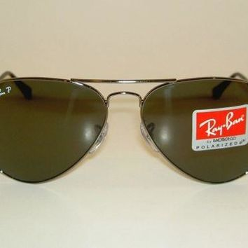New RAY BAN Aviator Sunglasses GLASS POLARIZED GRAY RB 3025 004/58 Gunmetal 62mm