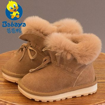 Babaya Children Winter Thick Rabbit Plush Liner Snow Boots Cute Bow-tie Decoration Boys Girls Casual Boots Shoes 672