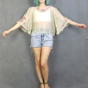 Vintage Angel Sleeve Blouse Sequin Floral Hand Painted Cream Gauze Semi Sheer Crop Top Fairy Hippie Boho Shirt Designer Festival Tunic (M)