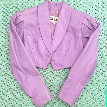 RARE 1980s Vtg CHIA Lavender / Pastel Purple Cropped Genuine Leather Jacket Extra Small