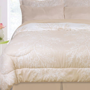 8 Piece Bayou Ivory/ Linen Twin Reversible Bed Set