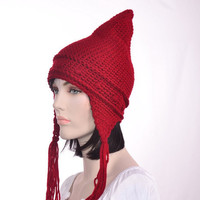 Red Pointed Gnome Hat Mens Hat Red Pointed Hat Bozite Ear Flap Hat Tassels Womens Hat