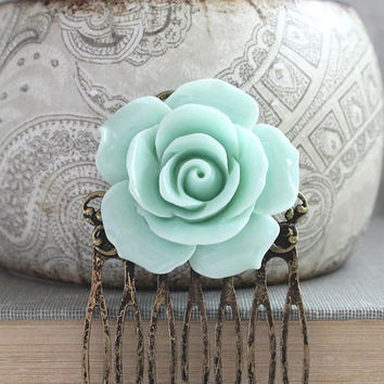 Big Rose Comb Flower Hair Comb Modern Bridal Hair Comb Mint Wedding Hair Accessories Bridesmaids Gift Aqua Pastel Shabby Country Chic