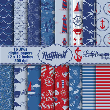 Nautical digital paper,Sea Printable ,Blue, red,nautical paper,seahorse,lighthouse, anchors, patterned paper pack Commercial-Personal Use